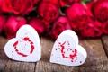 Картинка цветы, розы, сердца, сердечки, красные, белые