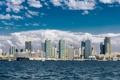 Картинка небо, океан, корабль, небоскребы, Калифорния, USA, США