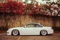 Картинка цветы, стена, тюнинг, профиль, белая, Silvia, Nissan