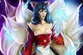 Картинка девушка, магия, League of Legends, хвосты, Ahri