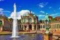 Картинка Dresden, город, фонтан, здания, Германия