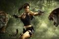 Картинка опасность, пистолеты, Tomb Raider, Underworld, тигры, лара крофт