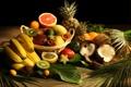 Картинка листья, кокос, киви, бананы, фрукты, ананас, грейпфрут