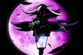 Картинка ночь, луна, аниме, перья, девочка, фонарь