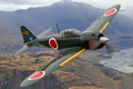 Картинка полет, ретро, самолет, ландшафт, истребитель, пилот, Mitsubishi A6M