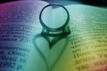Картинка книга, любовь, сердце, тень, кольцо, радуга