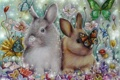 Картинка кролики, Alena-Koshkar, бабочки, сирень, rabbits, цветы