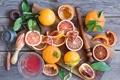 Картинка листья, апельсины, сок, доска, фрукты, цитрусы, мандарины