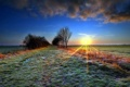 Картинка закат, пейзаж, поле, небо