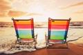 Картинка море, пляж, лето, солнце, закат, шезлонг, beach
