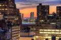 Картинка город, здания, дома, Нью-Йорк, небоскребы, вечер, крыши