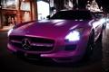 Картинка дорога, city, город, движение, вечер, SLS AMG, Mercedes Benz