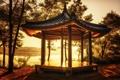 Картинка пейзаж, закат, природа, озеро, берег, Китай, беседка