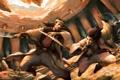 Картинка оружие, веер, арт, битва, мужчины, поединок