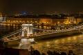 Картинка ночь, мост, огни, река, Венгрия, Будапешт, Дунай