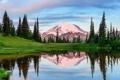 Картинка снег, деревья, горы, природа, озеро, отражение, елка