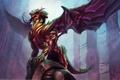 Картинка монстр, рога, ящер, скала, дракон, колонны, арт