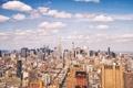 Картинка небо, облака, Нью-Йорк, Всемирный торговый центр, Эмпайр-стейт-билдинг, Соединенные Штаты