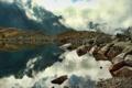 Картинка горы, туман, озеро, камни