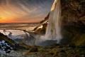 Картинка пейзаж, река, гора, водопад