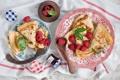 Картинка завтрак, утро, джем, блины с ягодами