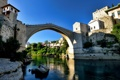 Картинка небо, пейзаж, горы, мост, река, дома, Босния и Герцеговина