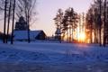 Картинка зима, закат, храм