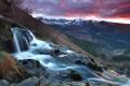 Картинка закат, лес, скалы, небо, ручей, горный, водопад