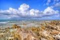 Картинка море, небо, облака, камни, берег