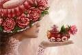 Картинка девушка, цветы, розы, шляпа, арт, профиль, паровозик