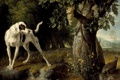 Картинка пейзаж, дерево, собака, растения, куропатки, виноградная лоза, Alexandre Francois Desportes
