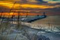 Картинка зима, море, закат