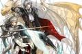 Картинка девушка, меч, арт, парень, грифон, рапира