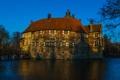 Картинка небо, деревья, озеро, дом, пруд, замок, вечер