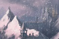 Картинка рот, огни, скульптура, город, люди, лицо, вход