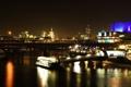 Картинка город, огни, река, англия, дома, лондон, вечер