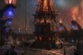 Картинка город, оружие, огонь, шары, магия, меч, рога