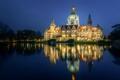 Картинка пруд, парк, отражение, Германия, Germany, ратуша, Ганновер