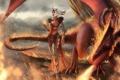 Картинка огонь, магия, женщина, дракон, арт, ведьма, Dragon Age
