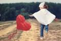 Картинка поле, игра, сердце, девочка, змей, ребёнок
