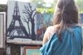 Картинка волосы, эйфелева башня, девушка, заколка, рисунок, дерево