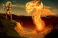 Картинка девушка, пламя, Diablo, призыв, фанарт, Witch Doctor