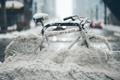 Картинка город, снег, велосипед