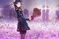 Картинка девушка, цветы, город, дома, розы, букет, шляпа