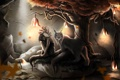 Картинка листья, девушка, цветы, лампы, дерево, зверь, рысь