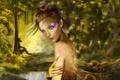 Картинка лес, девушка, крылья, фея, арт