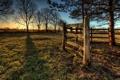 Картинка закат, забор, деревья