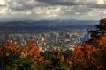 Картинка облака, деревья, пейзаж, горы, дома, США, вид сверху