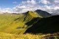 Картинка зелень, облака, природа, озеро, холмы