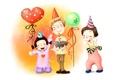 Картинка радость, рисунок, колпаки, детство, дети, праздник, торт